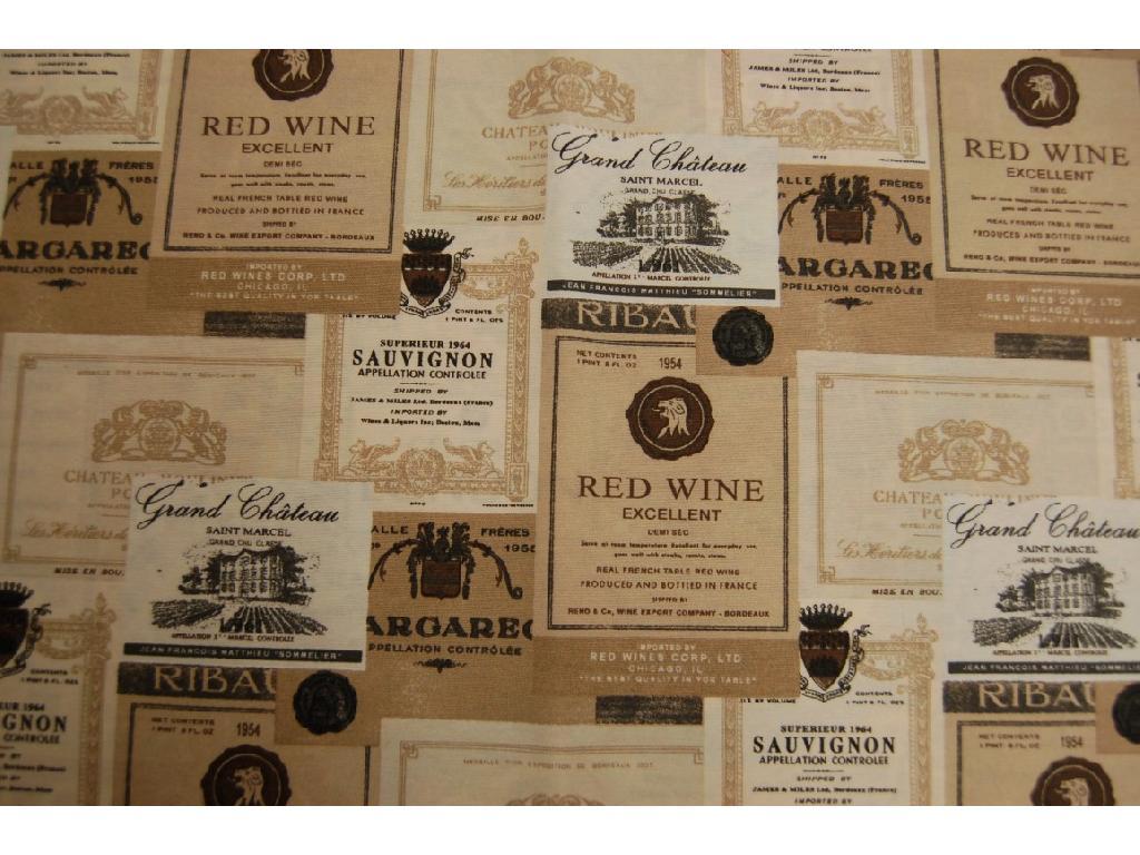 Tessuto stampato disegno etichette vino