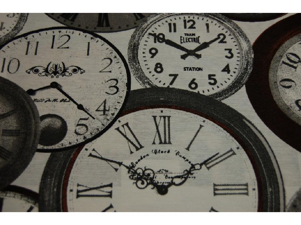 Tessuto stampato disegno orologi