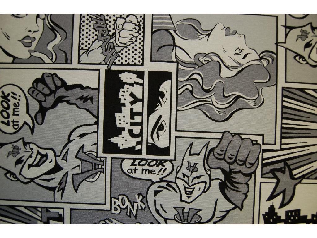 Tessuto stampato disegno fumetti bianco e nero