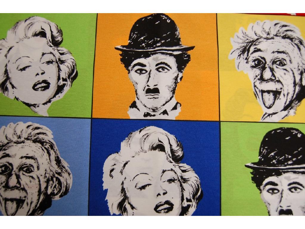 Tessuto stampato disegno Charlie Chaplin e altri attiri