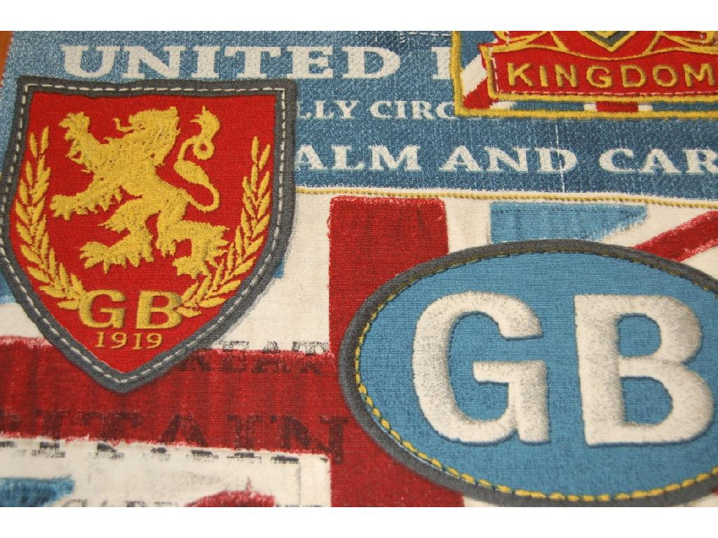 Tessuto stampato disegno loghi inglesi