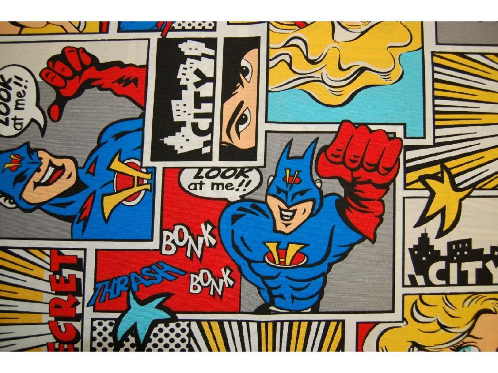 Tessuto stampato disegno superman