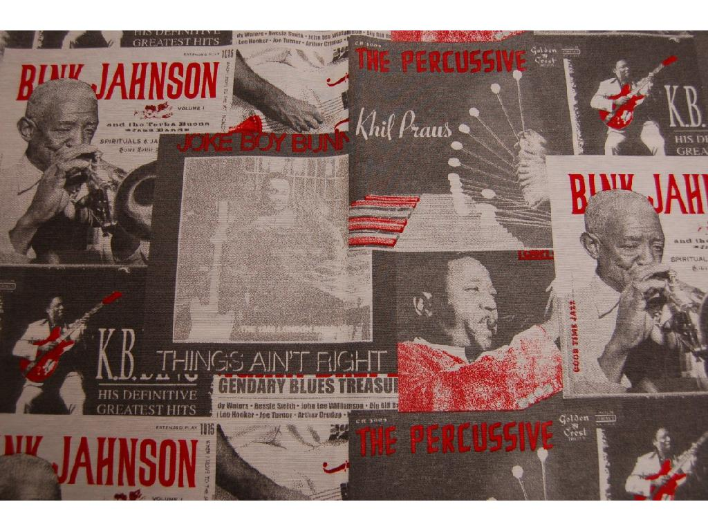Tessuto stampato copertine dischi musica jazz